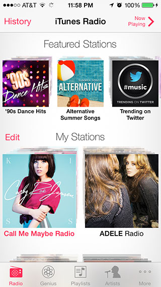 Clearly seen is iTunes Radio's colorful display, variety of stations and proximity to the music library