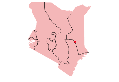 Here, Garissa is highlighted on a map of Kenya