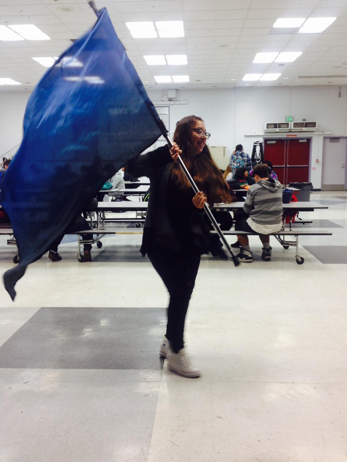 Sophomore Erika Diaz practices her routine