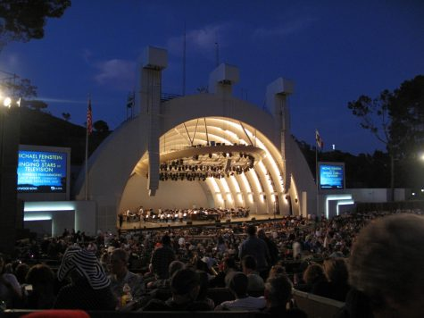 The Hollywood Bowl lit up at night  (Photo via Wikipedia under the Creative Commons License)