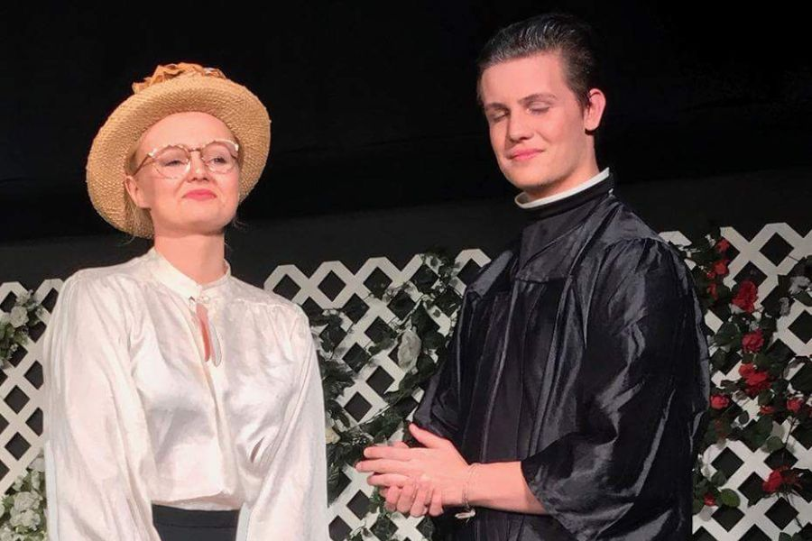 Senior Cassidy Contreras (Miss Prism) and Senior Justin Mayfield (Dr.Chasuble)