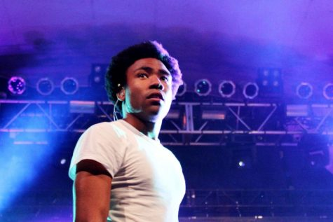 Glover's musical pseudonym, Gambino, during a performance