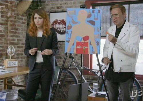 Carrie Brownstein and Fred Armisen during filming of the current season of