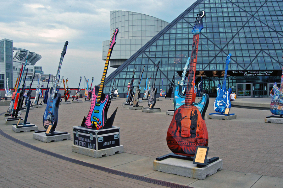 Located in Cleveland, Ohio, the museum features beautiful guitars in front of a glass pyramid
