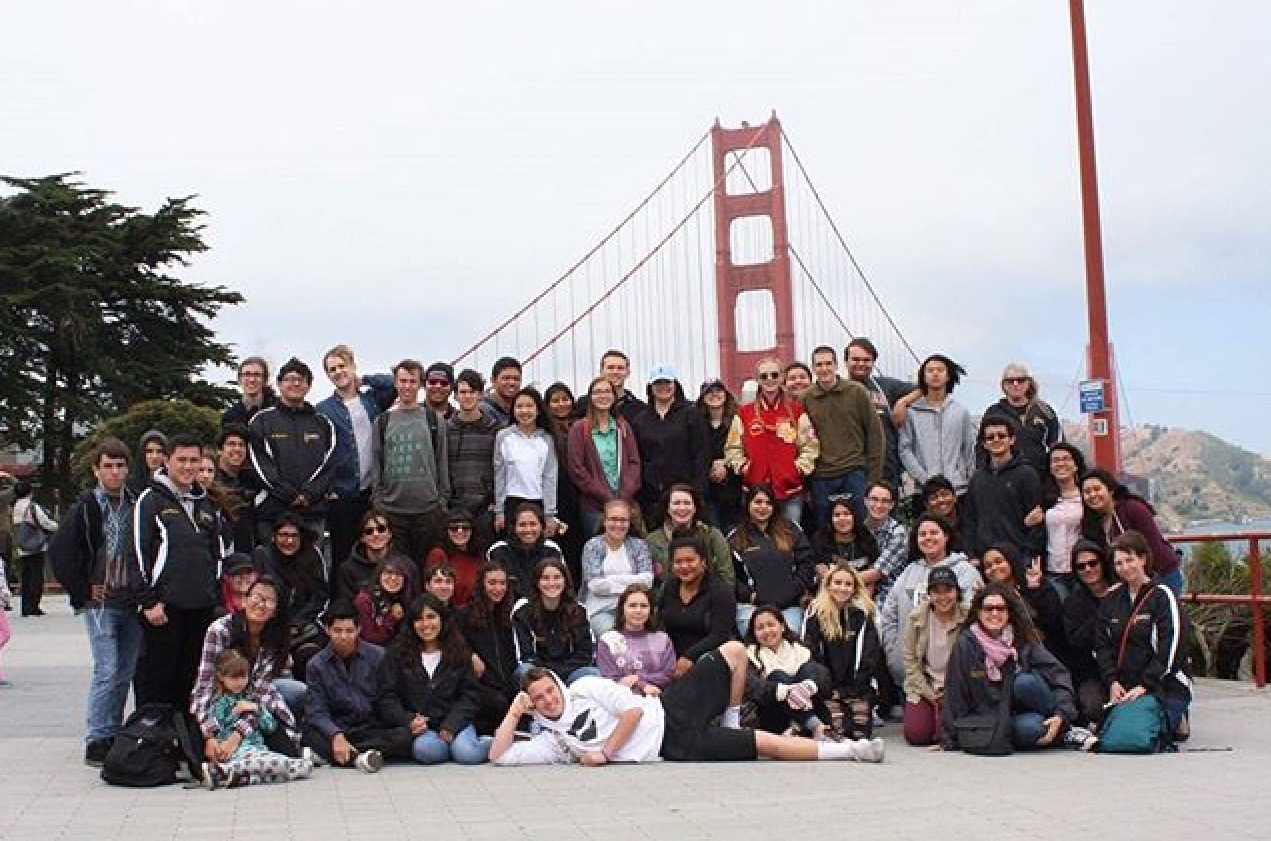 El Modena's Vocal Music in front of the Golden Gate Bridge.