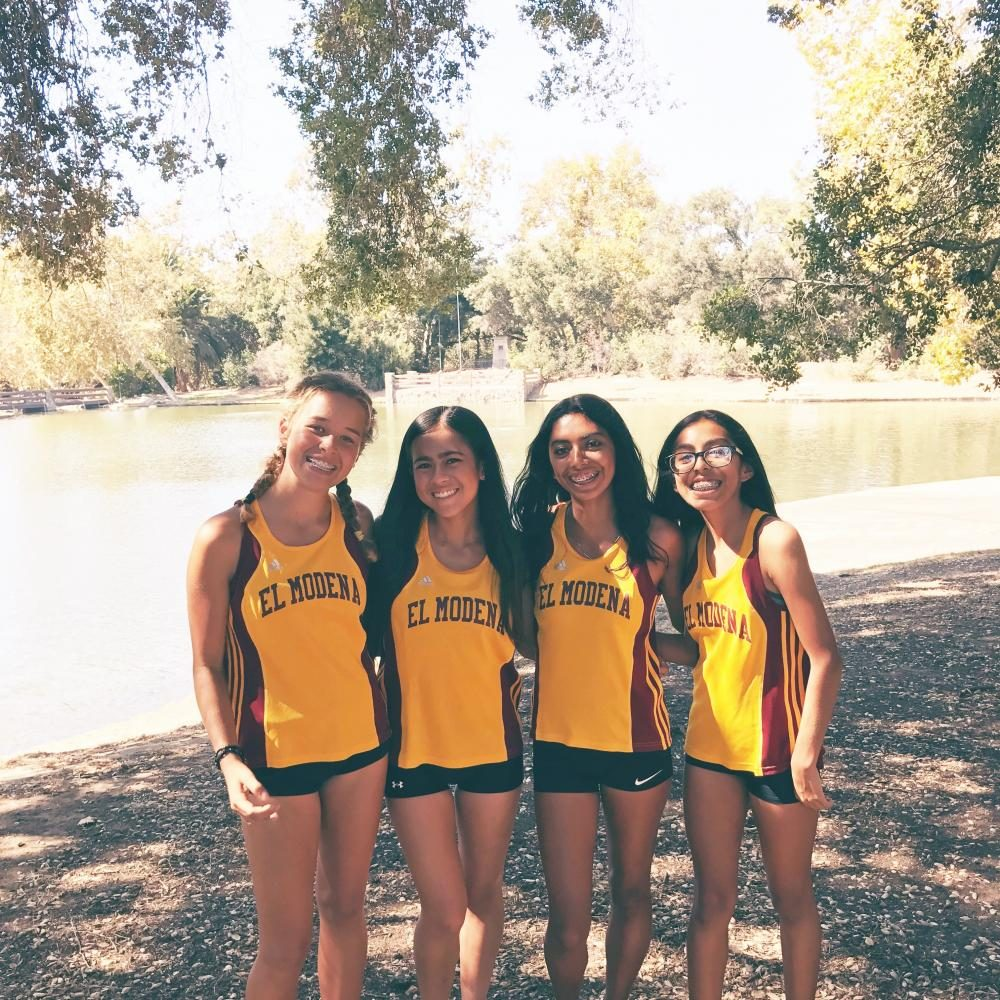 Senior Hannah Habibi at a race with other varsity girls on September 29,2016.