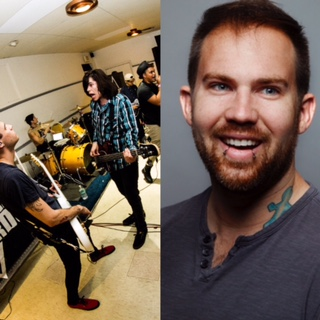 (left) Louder Than Words performing in their hometwon of Las Vegas, Nevada. (right) Gabe Kubanda smiles in his professional headshot.