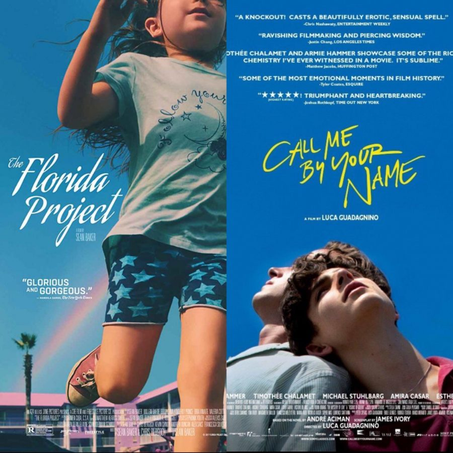 The Flordia project (left) and Call Me By Your Name (right) official promotion posters.
