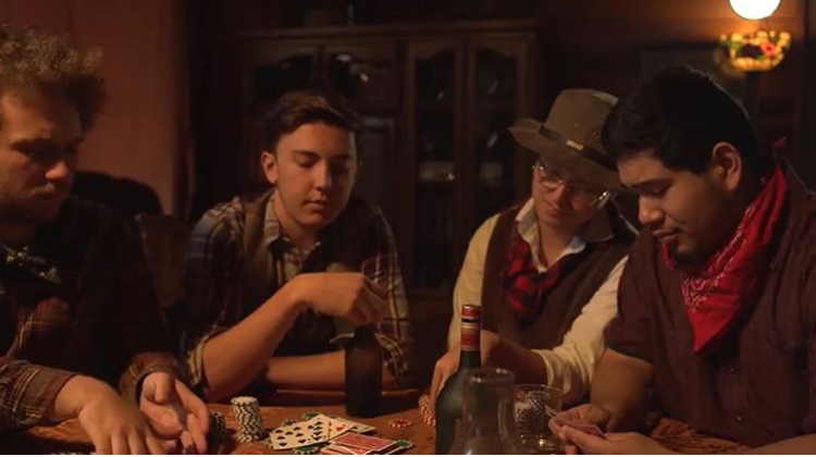 George Michaelis, Rafael Carrete, Drake Heidler, and Chris during filming (Photo courtesy of EMTV).