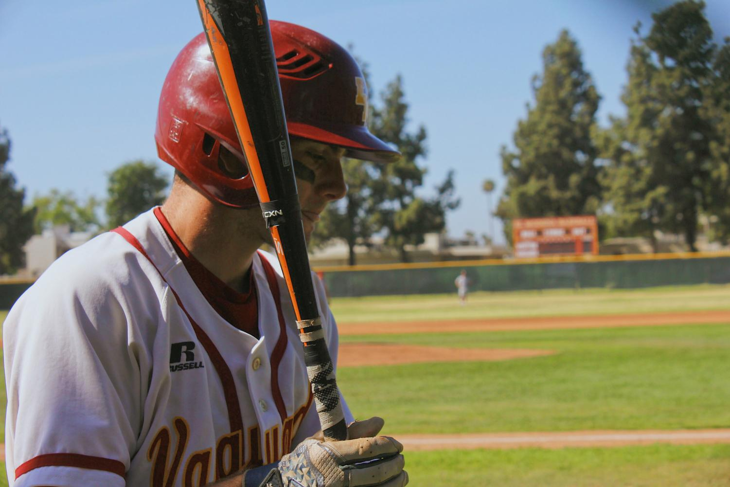 #2 Justin Simpson on deck in the game against Esperanza.
