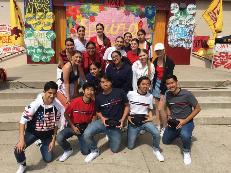 Members of the Vanguard Dance Company and Vizion Crew at the Spring Sports Assembly: (bottom left) Sohel Bagai, Dustin Nguyen, Ryan Takata, Stephen Le, Justin Luong, Mia Vasquez, Kate Ayala, Isabella Perez, Avery Miles, Vanessa Carroll, Elizabeth Raburn, Alondra Sanchez, Julia Atkinson, Lilia Bour, Donna Gaytan, Ashley Ramynke, Hayley Hoey, and Catheryne Bernal.