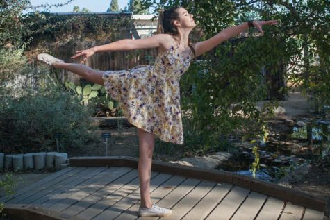 Junior Vanessa Carroll does an arabesque  in the Nature Center  (Photo via Justin Luong).