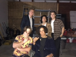 The Grinns pose for a picture right before heading onstage to perform on April 27, 2018 at the Observatory in Santa Ana, CA