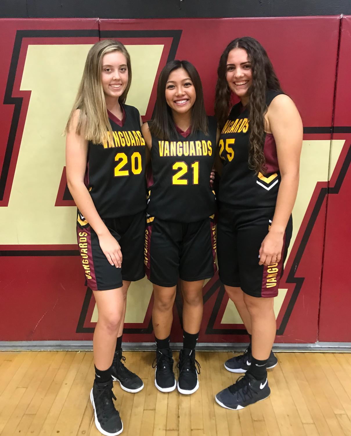 From right-to-left: Abby Capra, Mikayla Reyes, and Allyson Conner