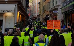 Protestors flooding the streets in Nice with signs proclaiming their rights