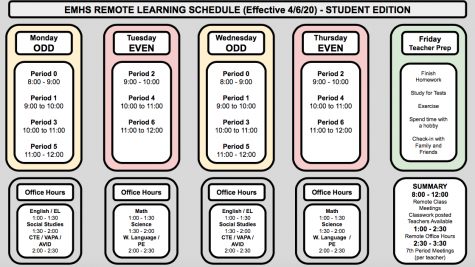 A copy of the new remote learning schedule for all Vanguard students